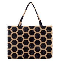 Hexagon2 Black Marble & Natural White Birch Wood Zipper Medium Tote Bag by trendistuff