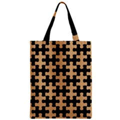 Puzzle1 Black Marble & Natural White Birch Wood Zipper Classic Tote Bag by trendistuff