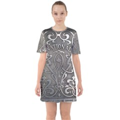 Art Nouveau Silver Sixties Short Sleeve Mini Dress
