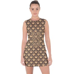 Scales2 Black Marble & Natural White Birch Wood (r) Lace Up Front Bodycon Dress