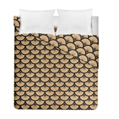 Scales3 Black Marble & Natural White Birch Wood (r) Duvet Cover Double Side (full/ Double Size)
