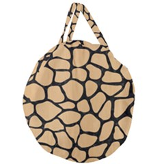 Skin1 Black Marble & Natural White Birch Wood Giant Round Zipper Tote