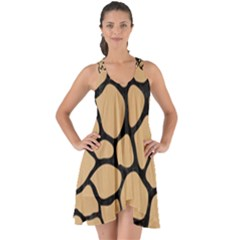 Skin1 Black Marble & Natural White Birch Wood Show Some Back Chiffon Dress by trendistuff