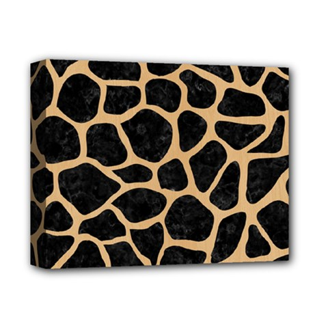 Skin1 Black Marble & Natural White Birch Wood (r) Deluxe Canvas 14  X 11  by trendistuff