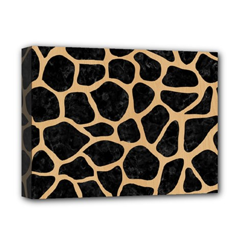 Skin1 Black Marble & Natural White Birch Wood (r) Deluxe Canvas 16  X 12   by trendistuff