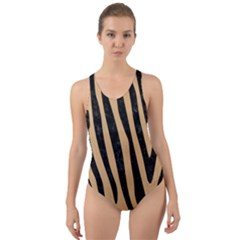 Skin4 Black Marble & Natural White Birch Wood Cut Out Back One Piece Swimsuit by trendistuff
