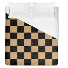 Square1 Black Marble & Natural White Birch Wood Duvet Cover (queen Size) by trendistuff
