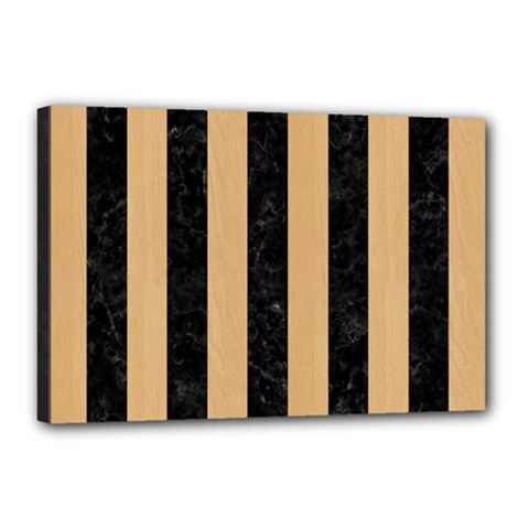 Stripes1 Black Marble & Natural White Birch Wood Canvas 18  X 12  by trendistuff