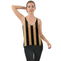 Stripes1 Black Marble & Natural White Birch Wood Cami