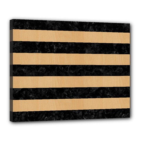 Stripes2 Black Marble & Natural White Birch Wood Canvas 20  X 16  by trendistuff