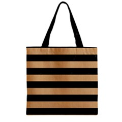 Stripes2 Black Marble & Natural White Birch Wood Zipper Grocery Tote Bag by trendistuff