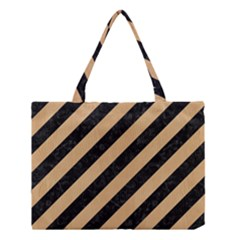 Stripes3 Black Marble & Natural White Birch Wood Medium Tote Bag by trendistuff