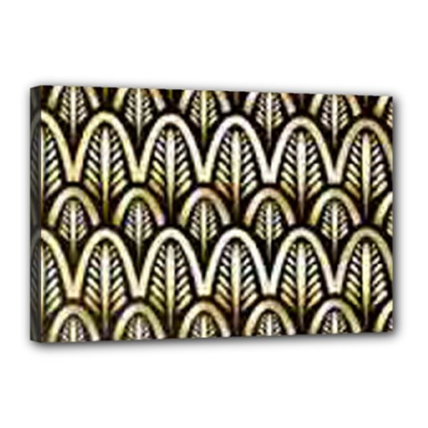 Art Deco Gold Black Shell Pattern Canvas 18  X 12  by 8fugoso
