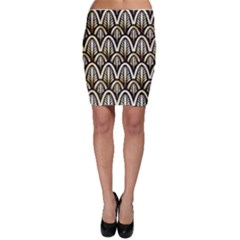 Art Deco Gold Black Shell Pattern Bodycon Skirt by 8fugoso