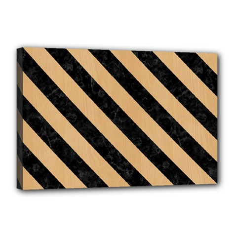 Stripes3 Black Marble & Natural White Birch Wood (r) Canvas 18  X 12  by trendistuff