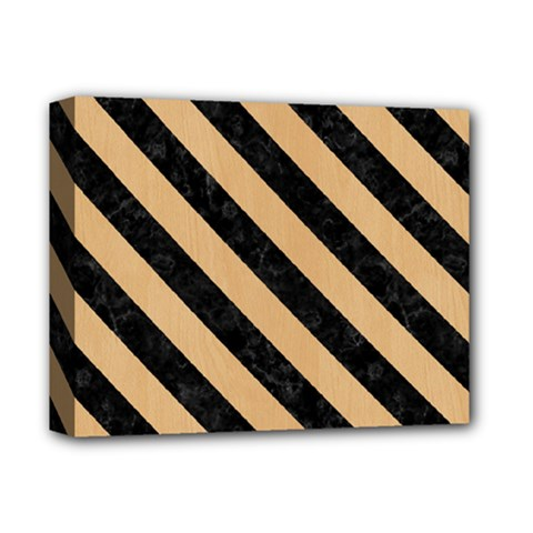 Stripes3 Black Marble & Natural White Birch Wood (r) Deluxe Canvas 14  X 11  by trendistuff