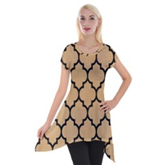 Tile1 Black Marble & Natural White Birch Wood (r) Short Sleeve Side Drop Tunic by trendistuff