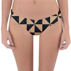 Triangle1 Black Marble & Natural White Birch Wood Reversible Hipster Bikini Bottoms by trendistuff