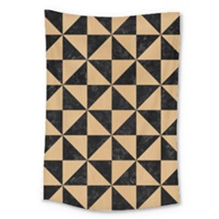 Triangle1 Black Marble & Natural White Birch Wood Large Tapestry by trendistuff