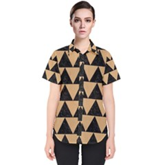 Triangle2 Black Marble & Natural White Birch Wood Women s Short Sleeve Shirt