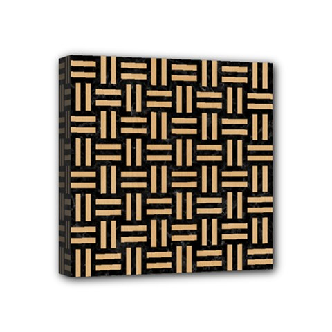 Woven1 Black Marble & Natural White Birch Wood Mini Canvas 4  X 4  by trendistuff