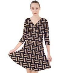 Woven1 Black Marble & Natural White Birch Wood Quarter Sleeve Front Wrap Dress