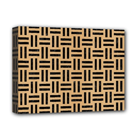 Woven1 Black Marble & Natural White Birch Wood (r) Deluxe Canvas 16  X 12   by trendistuff