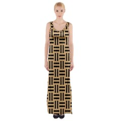 Woven1 Black Marble & Natural White Birch Wood (r) Maxi Thigh Split Dress by trendistuff