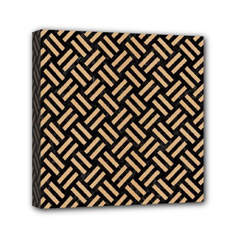 Woven2 Black Marble & Natural White Birch Wood Mini Canvas 6  X 6  by trendistuff