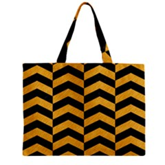 Chevron2 Black Marble & Orange Colored Pencil Zipper Mini Tote Bag by trendistuff