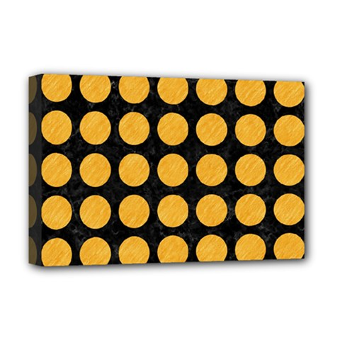 Circles1 Black Marble & Orange Colored Pencil Deluxe Canvas 18  X 12   by trendistuff