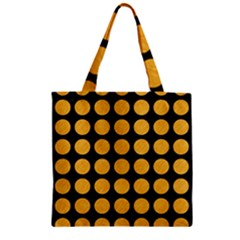 Circles1 Black Marble & Orange Colored Pencil Zipper Grocery Tote Bag by trendistuff