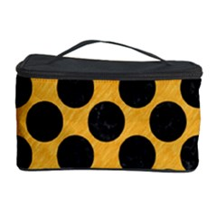 Circles2 Black Marble & Orange Colored Pencil (r) Cosmetic Storage Case