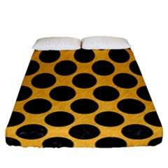Circles2 Black Marble & Orange Colored Pencil (r) Fitted Sheet (queen Size) by trendistuff