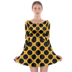 Circles2 Black Marble & Orange Colored Pencil (r) Long Sleeve Skater Dress
