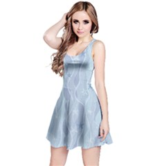 Light Blue Elegant Snoflakes Reversible Sleeveless Dress