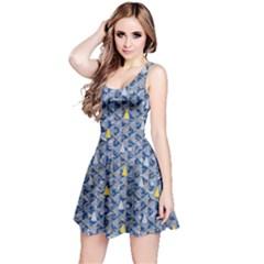 Blue & Grey Vintage Argyle Christmas Reversible Sleeveless Dress