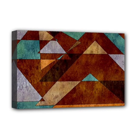 Turquoise And Bronze Triangle Design With Copper Deluxe Canvas 18  X 12   by digitaldivadesigns