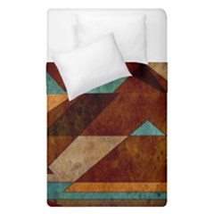Turquoise And Bronze Triangle Design With Copper Duvet Cover Double Side (single Size) by theunrulyartist
