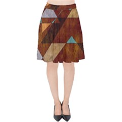 Turquoise And Bronze Triangle Design With Copper Velvet High Waist Skirt by theunrulyartist