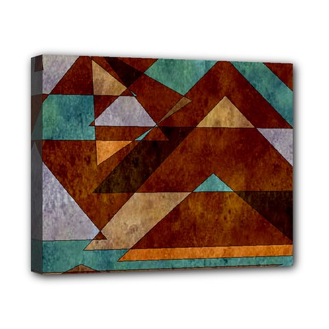 Turquoise And Bronze Triangle Design With Copper Canvas 10  X 8  by theunrulyartist