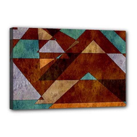 Turquoise And Bronze Triangle Design With Copper Canvas 18  X 12  by digitaldivadesigns