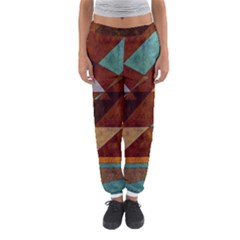 Turquoise And Bronze Triangle Design With Copper Women s Jogger Sweatpants by theunrulyartist