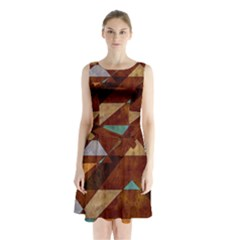 Turquoise And Bronze Triangle Design With Copper Sleeveless Waist Tie Chiffon Dress