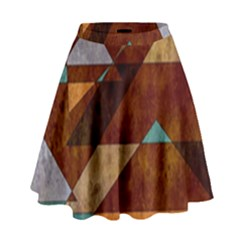Turquoise And Bronze Triangle Design With Copper High Waist Skirt by theunrulyartist