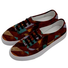 Turquoise And Bronze Triangle Design With Copper Men s Classic Low Top Sneakers by theunrulyartist