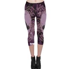Soft Violett Floral Design Capri Leggings  by FantasyWorld7