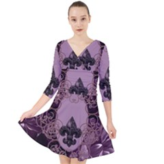 Soft Violett Floral Design Quarter Sleeve Front Wrap Dress