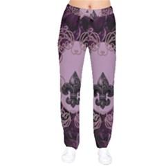 Soft Violett Floral Design Drawstring Pants by FantasyWorld7