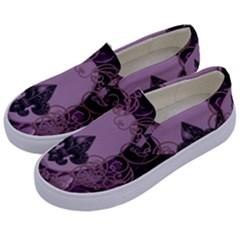 Soft Violett Floral Design Kids  Canvas Slip Ons by FantasyWorld7
